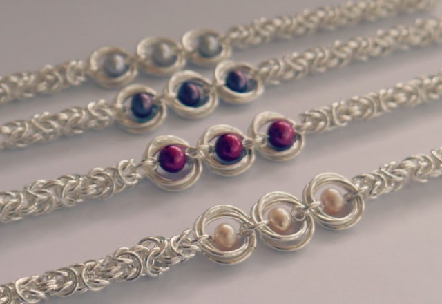 Sterling silver and pearl Byzantine chainmaille bracelets by Linkouture