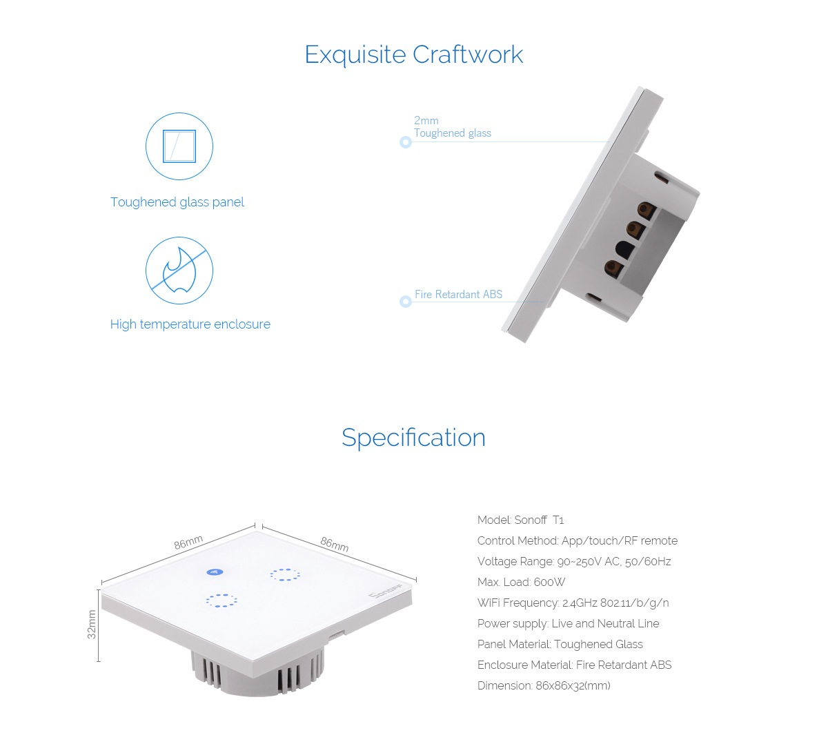 Sonoff T1 Eu Ac90v 250v 600w Smart Wifi Wall Touch