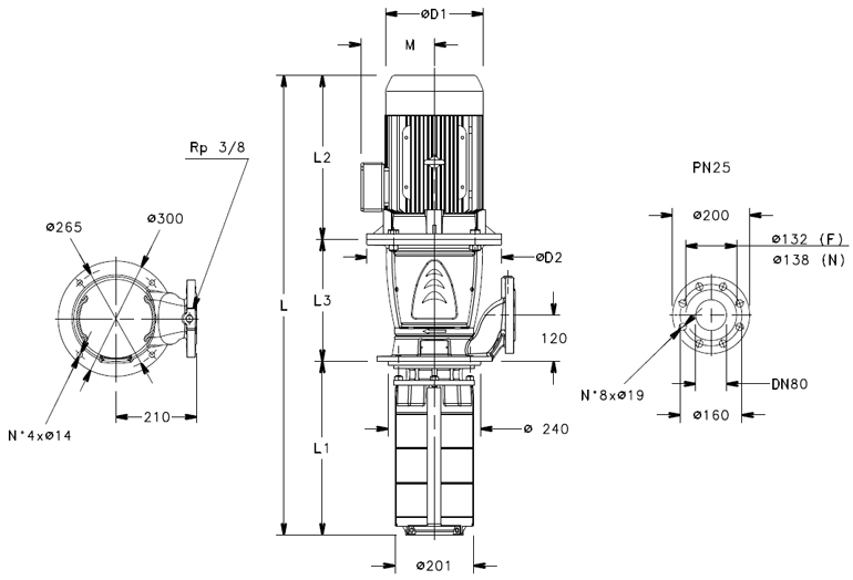 Multi-Stage Stainless steel- Vertical pump with