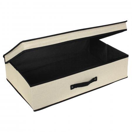 boite de rangement cartonnee avec couvercle 25l beige