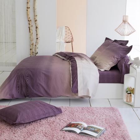 housse de couette 200x200 cm percale 100 coton james violet prune