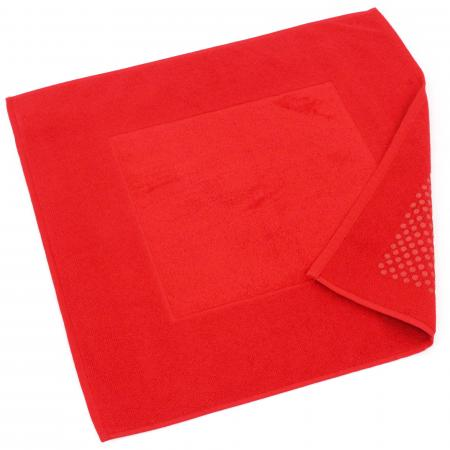 tapis de bain antiderapant 60x60 cm velours prestige rouge