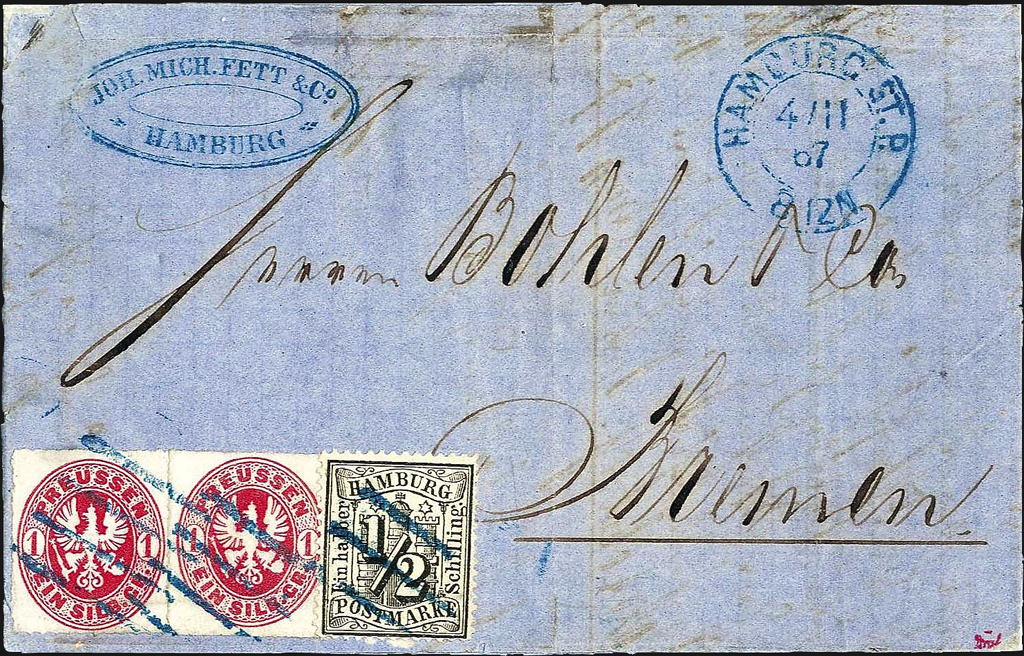 Prussia Hamburg mixed franking in Sept 1112 Wurttembergisches auction