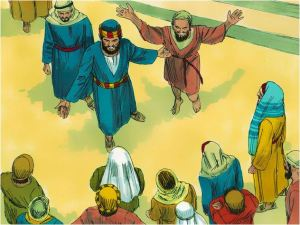 Pedro predica el Evangelio despues de sanar al limosnero cojo