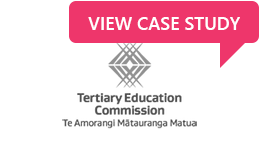 Organisation logo for the New Zealand Tertiary Education Commission with link to their case study