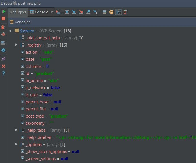 PhpStorm Debugging WordPress WP_Screen Object