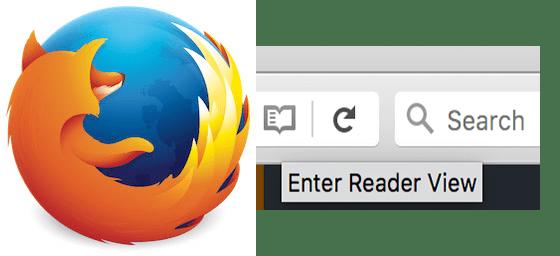 Screenshot of Firefox Reader View Button