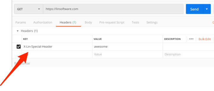 Screenshot of Postman GET request with HTTP header