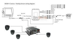 4 CHs School Bus DVR CCTV Camera System with Parking Sensor