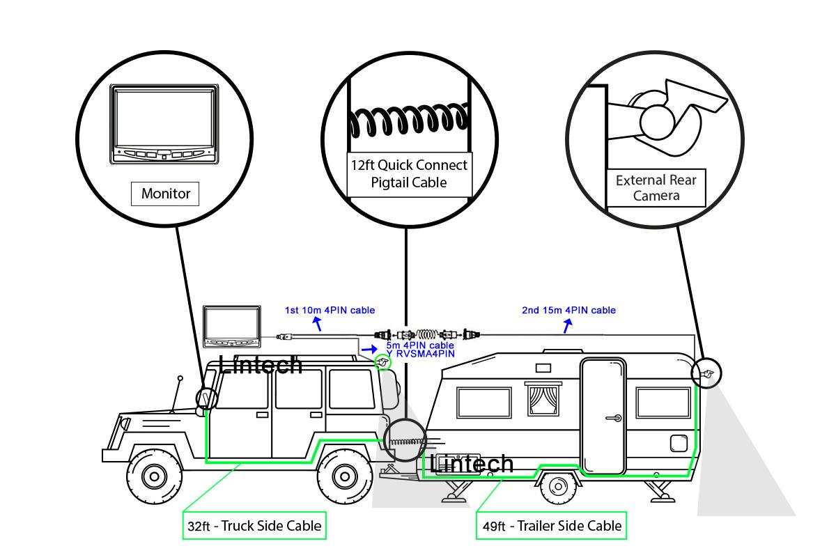 LA-TPE7-1 Trailer Cable for 1 Channel Car Camera Connector