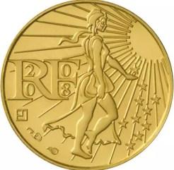 Avers de la pièce dor de 100 euros. Monnaie de Paris