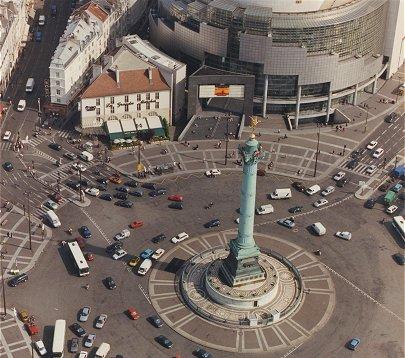 Paris prise de haut  En 2000  La place de la Bastille