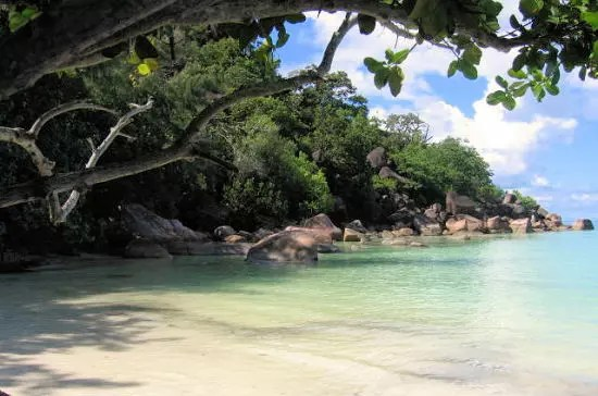 près de praslin aux seychelles.