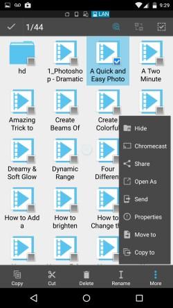 selección de archivos en chromecast