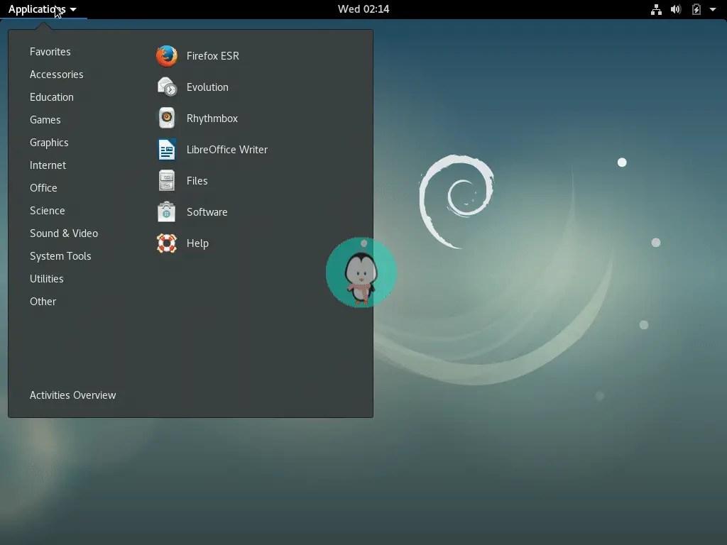 Debian application menu