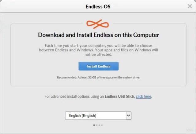 Endless OS installer on Windows