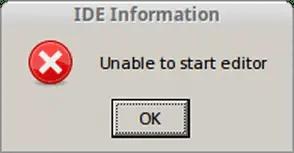IDE error unable to start editor