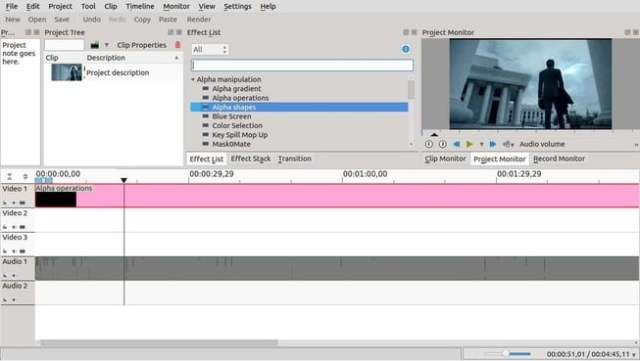 Kdenlive interface in linux