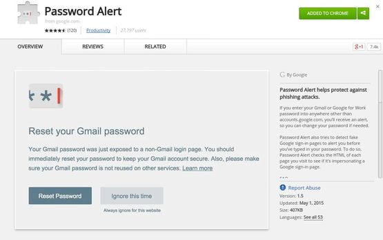 Password Alert chrome extension for security