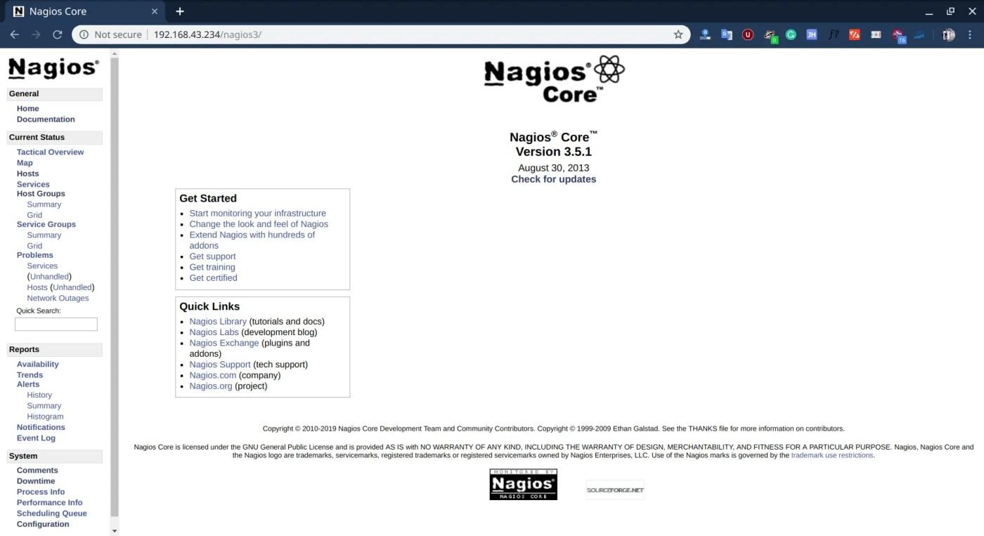 nagios core dashboard