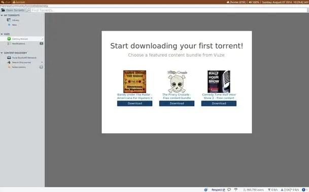 Vuze linux torrent clients