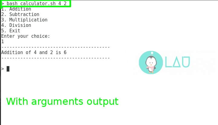 With arguments output