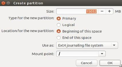 create root partition to install Ubuntu