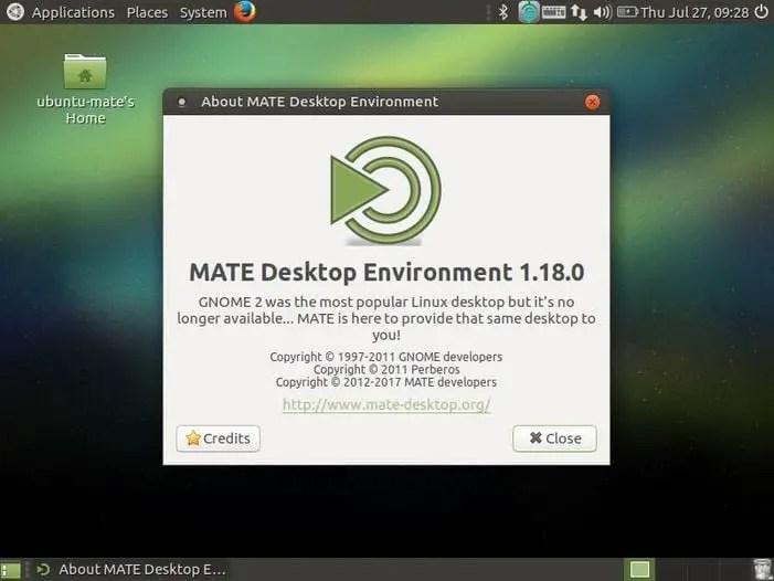 default ubuntu mate 17.04 desktop screen
