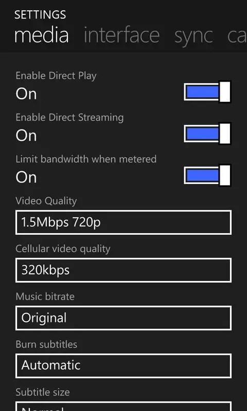 edit plex media client settings
