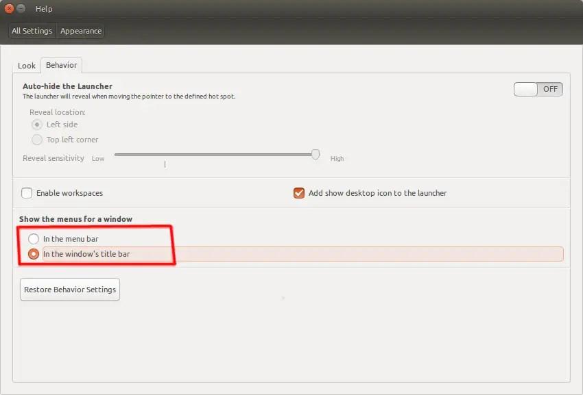 enable show menu in title's bar in ubuntu 15.04 vivid vervet