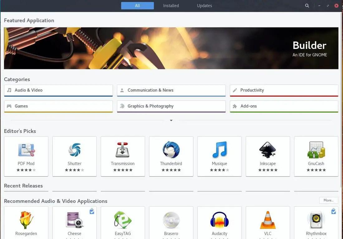 fedora 27 gnome software center