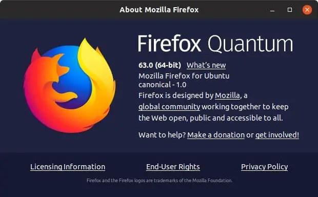 firefox quantom 63 in ubuntu 18.10