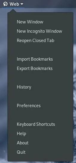 gnome web panel options