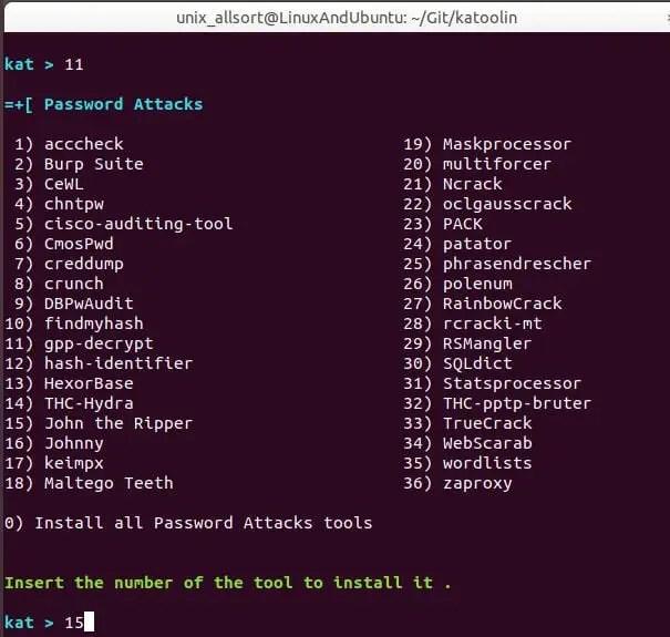 katoolin password attacks menu