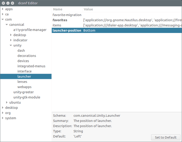 move unity launcher to bottom in ubuntu 16.04