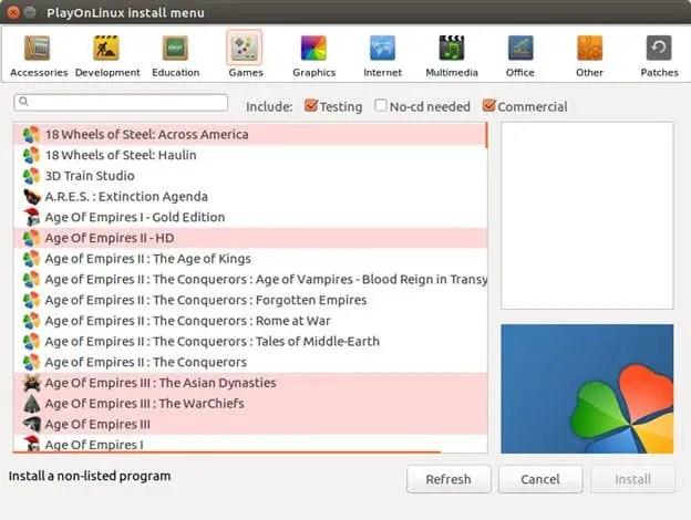 playonlinux game & software install menu