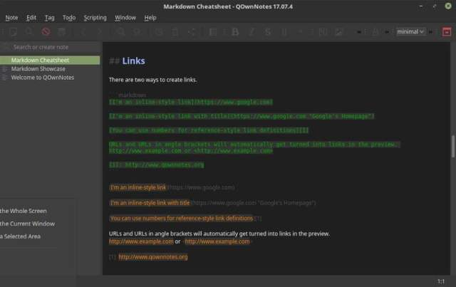 qownnotes interface customization