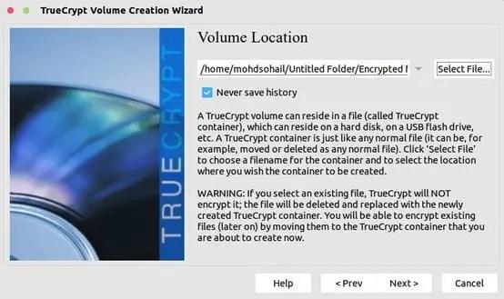 save volume location in truecrypt