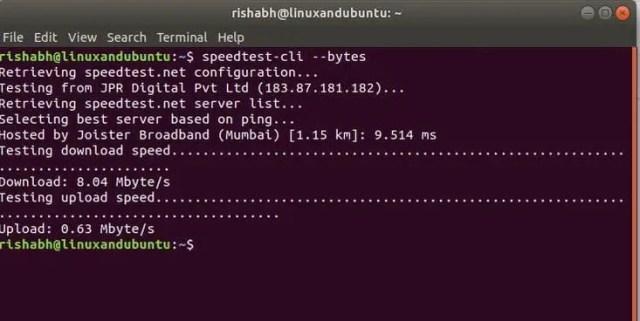 speedtest net from linux terminal