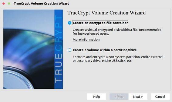 truecrypt select type of container or partition