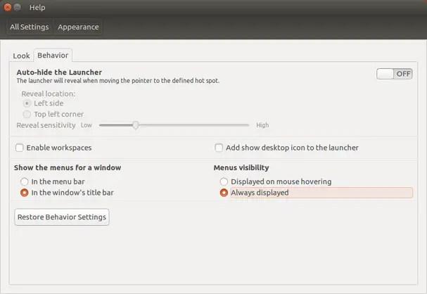 tweak ubuntu 16.04 menu visibility