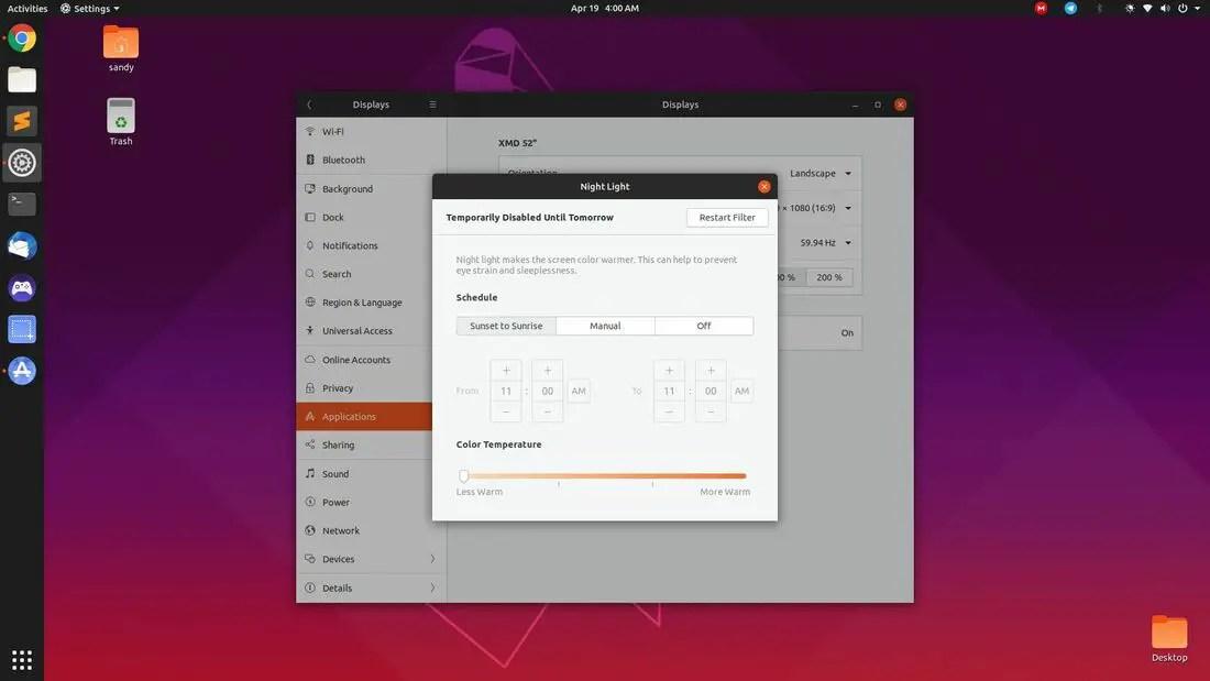 ubuntu night light