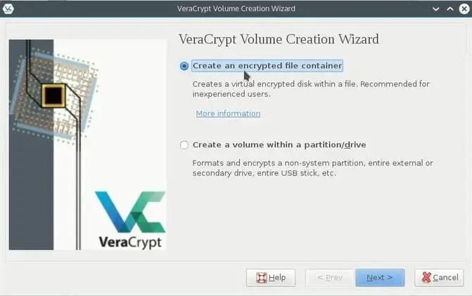 veracrypt volume craeation wizard