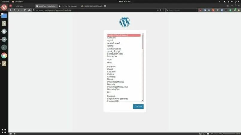 wordpress setup wizard