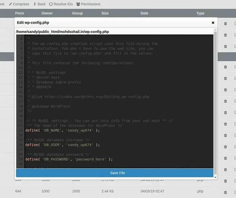 wp-config edit password