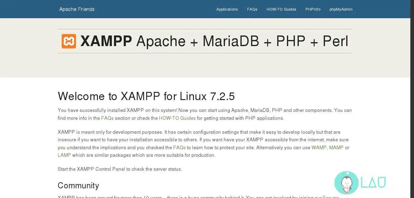 xampp server running on linux