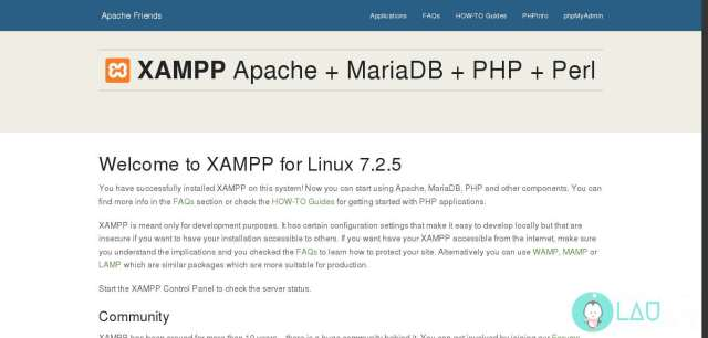 xampp server running on linux