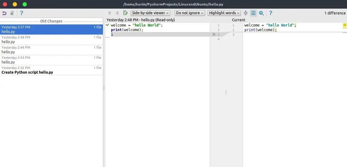 Git changes window