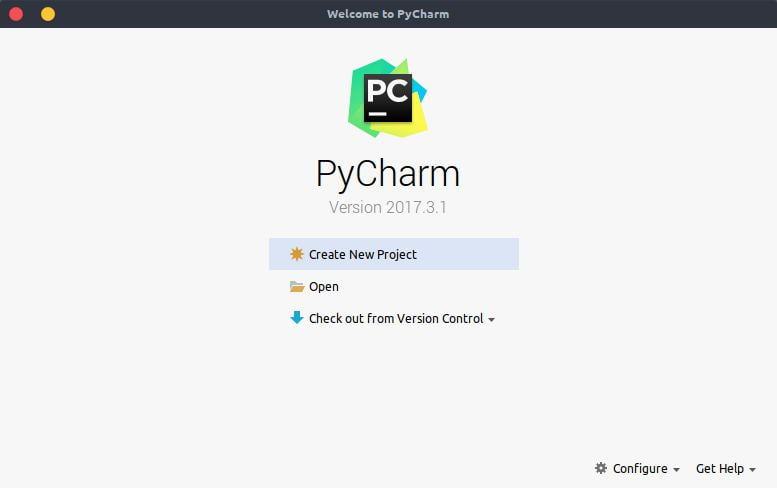 Pycharm welcome screen