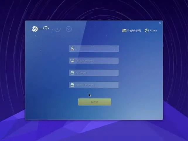 deepin os installation setup user information